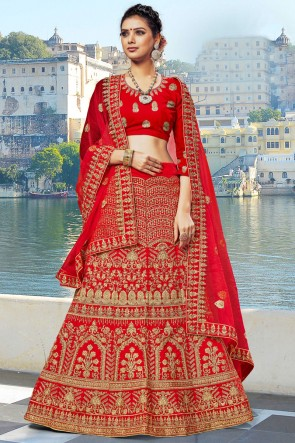 Red Velvet Fabric Zari And Embroidered Work Designer Lehenga Choli With Net Dupatta