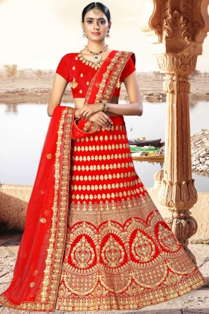 Red Embroidered And Zari Work Velvet Fabric Designer Lehenga Choli With Net Dupatta