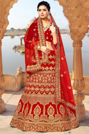 Velvet Fabric Embroidered And Zari Work Designer Red Lehenga Choli With Net Dupatta