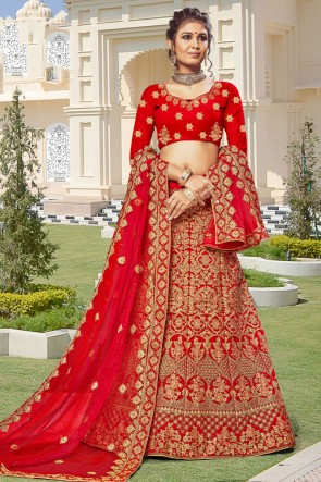 Velvet Fabric Designer Red Zari Work And Embroidered Lehenga Choli With Net Dupatta