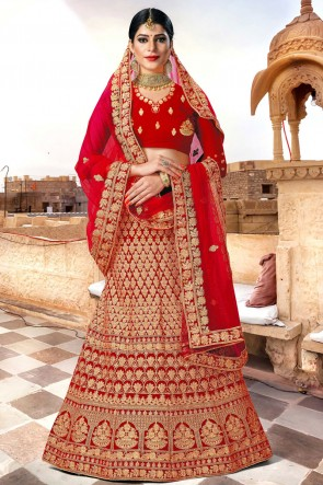 Red Zari Work And Embroidered Velvet Fabric Lehenga Choli With Net Dupatta