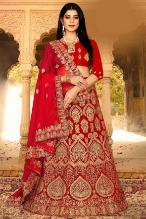 Red Zari And Embroidered Work Designer Velvet Fabric Lehenga Choli With Net Dupatta