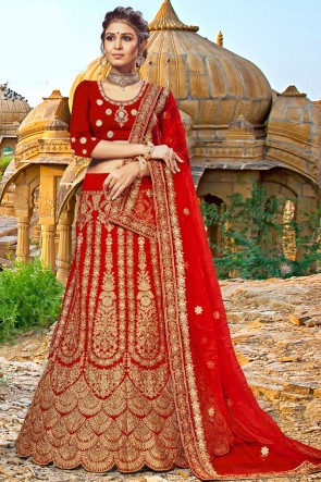 Beautiful Red Embroidered And Zari Work Velvet Fabric Lehenga Choli With Net Dupatta