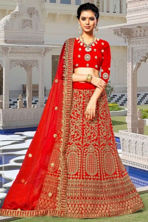 Delightful Red Embroidered And Zari Work Velvet Fabric Lehenga Choli With Net Dupatta