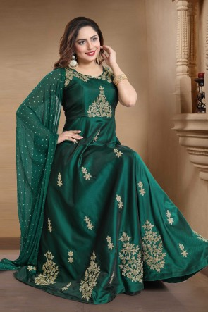 Green Satin Hand Work Abaya Style Anarkali Suit With Chiffon Dupatta