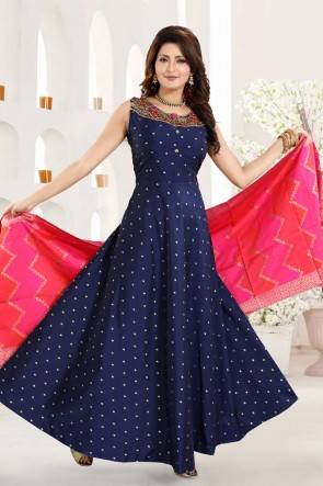 Blue Taffeta Hand Work Abaya Style Anarkali Suit With Brocade Dupatta
