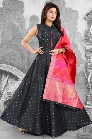 Black Taffeta Hand Work Abaya Style Anarkali Suit With Brocade Dupatta