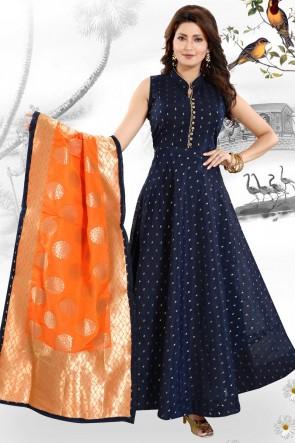 Hand Work Blue Chanderi Fabric Anarkali Suit With Brocade Dupatta