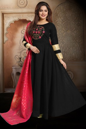Chanderi Designer Black Hand Work Anarkali Suit With Brocade Dupatta