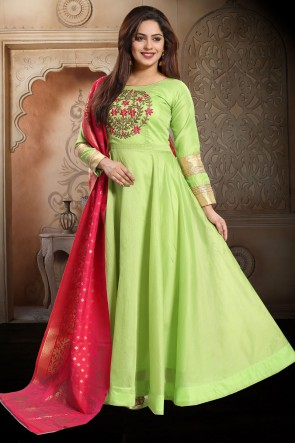 Designer Pista Hand Work Chanderi Abaya Style Anarkali Suit With Brocade Dupatta