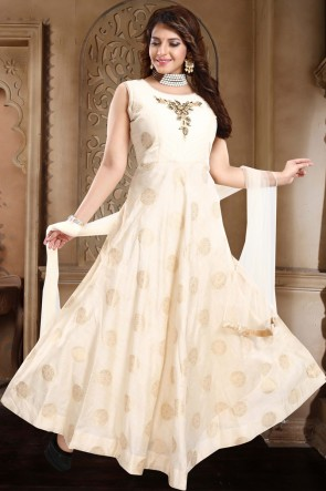 Cream Banarasi Silk Hand Work Abaya Style Anarkali Suit With Net Dupatta