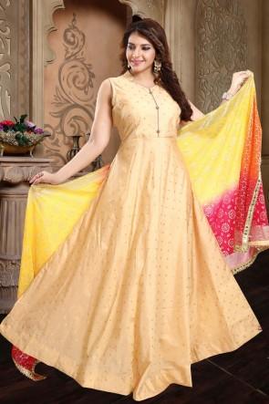 Hand Work Golden Taffeta Fabric Anarkali Suit With Brocade Dupatta