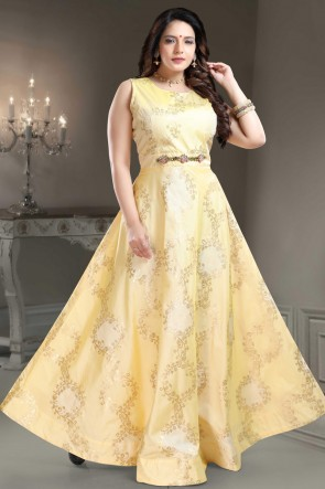 Designer Yellow Hand Work Brocade Abaya Style Anarkali Suit
