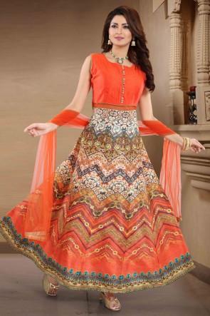 Multi Color Banglori Silk Hand Work Abaya Style Anarkali Suit With Net Dupatta
