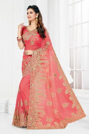 Rust Net Fabric Embroidered And Stone Work Designer Saree And Blouse