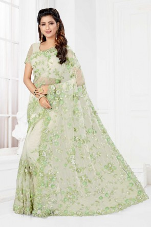 Net Fabric Off White Embroidered And Stone Work Designer Saree And Blouse