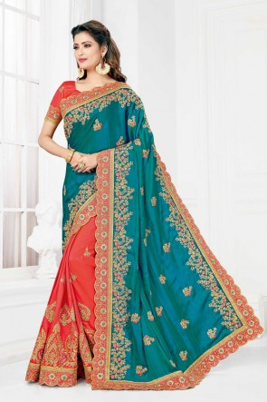 Embroidered And Stone Work Multi Color Silk Fabric Saree And Blouse