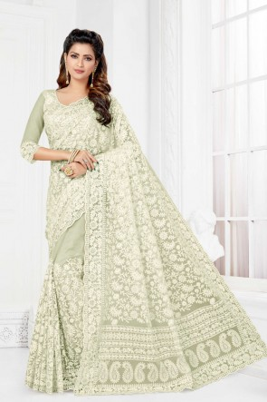 Off White Net Fabric Embroidered And Stone Work Designer Saree And Blouse