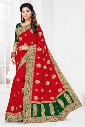Stunning Red Satin And Silk Fabric Designer Embroidered And Stone Work Saree And Blouse