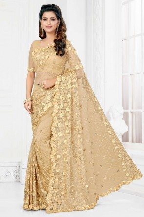 Net Fabric Embroidered And Stone Work Designer Beige Lovely Saree And Blouse