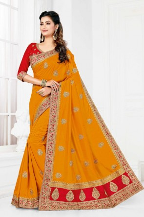 Yellow Satin And Silk Fabric Embroidered And Stone Work Designer Saree And Blouse
