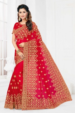 Net Fabric Red Embroidered And Stone Work Designer Saree And Blouse