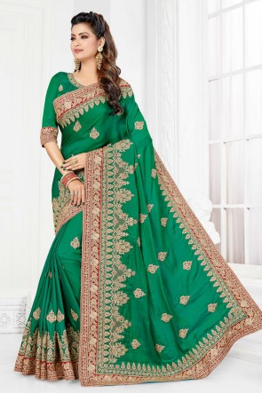 Optimum Embroidered And Stone Work Green Silk Fabric Designer Saree And Blouse