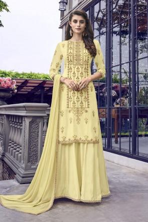 Yellow Muslin Embroidered Plazzo Suit With Chiffon Dupatta