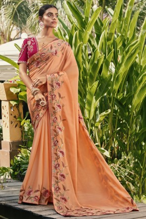 Stunning Peach Silk And Georgette Satin Fabric Designer Embroidered And Stone Work Saree And Blouse