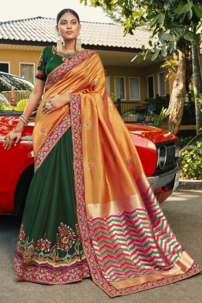 Silk And Georgette Satin Fabric Orange And Green Embroidered And Stone Work Designer Saree And Blouse