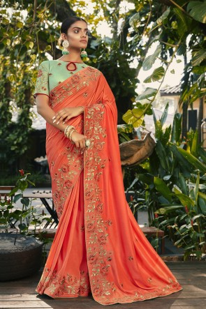 Silk And Georgette Satin Fabric Peach Embroidered And Stone Work Designer Saree And Blouse