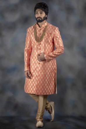 Peach Jacquard Fabric Indo Western With Dhupion Bottom