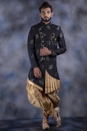 Black Jacquard Fabric Indo Western With Dhupion Bottom