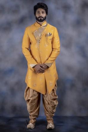 Imported Fabric Yellow Stylish Indo Western With Dhupion Bottom