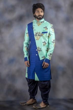 Aqua And Blue Jacquard Fabric Indo Western With Dhupion Bottom