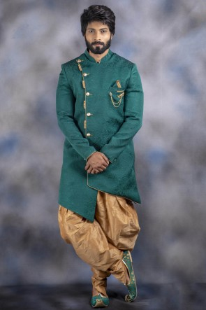 Imported Fabric Green Indo Western With Dhupion Bottom