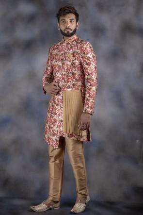 Jacquard Fabric Multicolor Indo Western With Dhupion Bottom