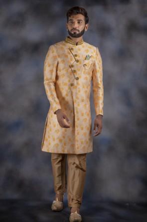 Imported Fabric Cream Designer Indo Western With Dhupion Bottom