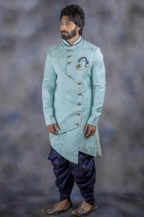 Jacquard Fabric Sky Blue Stylish Indo Western With Dhupion Bottom