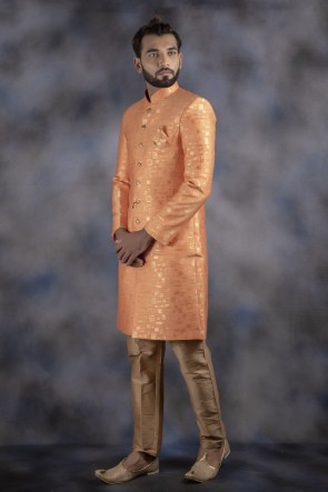 Designer Orange Jacquard Fabric Indo Western With Dhupion Bottom