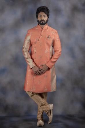 Jacquard Fabric Peach Indo Western With Dhupion Bottom