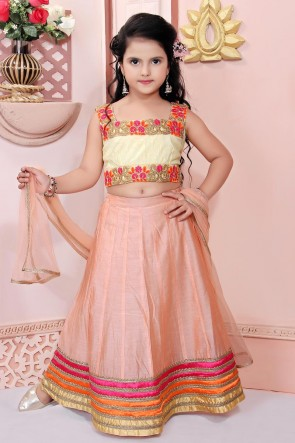 Delightful Peach Embroidered Chanderi Fabric Lehenga Choli With Net Dupatta