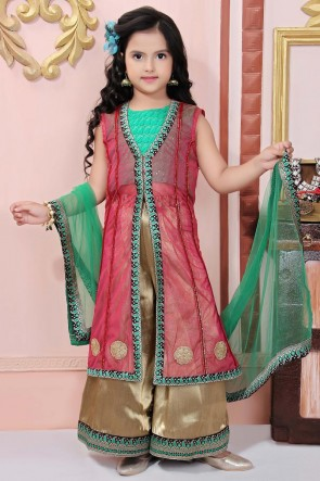 Green And Pink Brocade Embroidered Plazzo Suit Net Dupatta