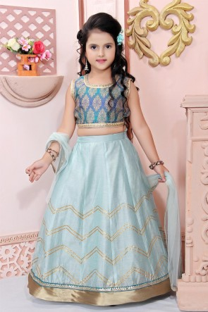 Cyan Chanderi Fabric Embroidered Designer Lehenga Choli With Net Dupatta