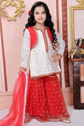 Net Designer White Embroidered Plazzo Suit And Dupatta