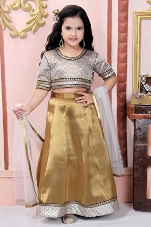 Golden Embroidered Brocade Fabric Lehenga Choli With Net Dupatta