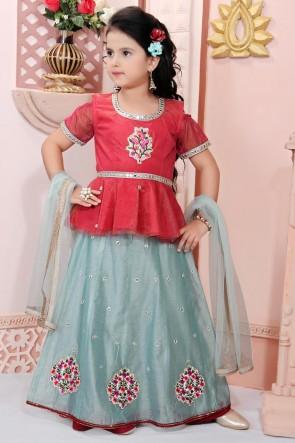Rust Embroidered Chanderi Fabric Designer Lehenga Choli With Net Dupatta