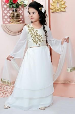 Faux Georgette Fabric Embroidered Designer White Lehenga Choli With Net Dupatta