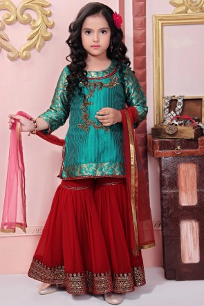 Faux Georgette Green Embroidered Plazzo Suit With Net Dupatta