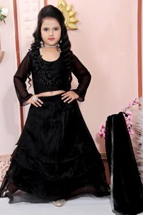 Embroidered Designer Organza Fabric Black Lehenga Choli With Net Dupatta